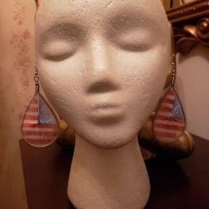 Red White & Blue Dangle Yarn Costume Earrings